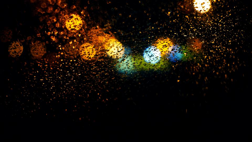 night colorful lights bokeh wet rain water drops abstract
