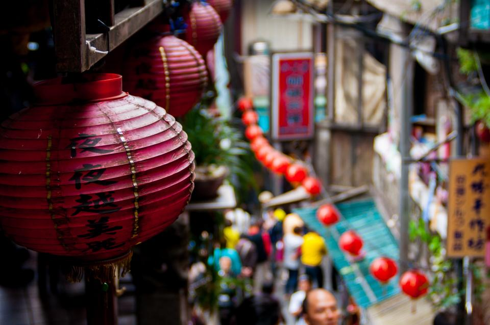 travel destination roads path streets alleys chinese lanterns signage people city