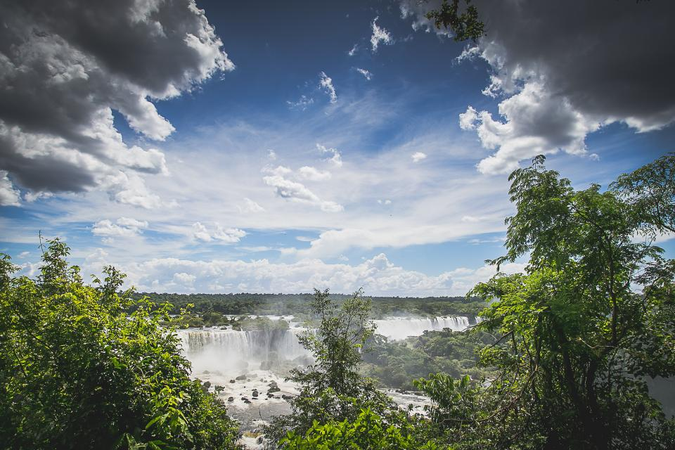 Iguazu Falls waterfalls landscape river trees sky clouds nature