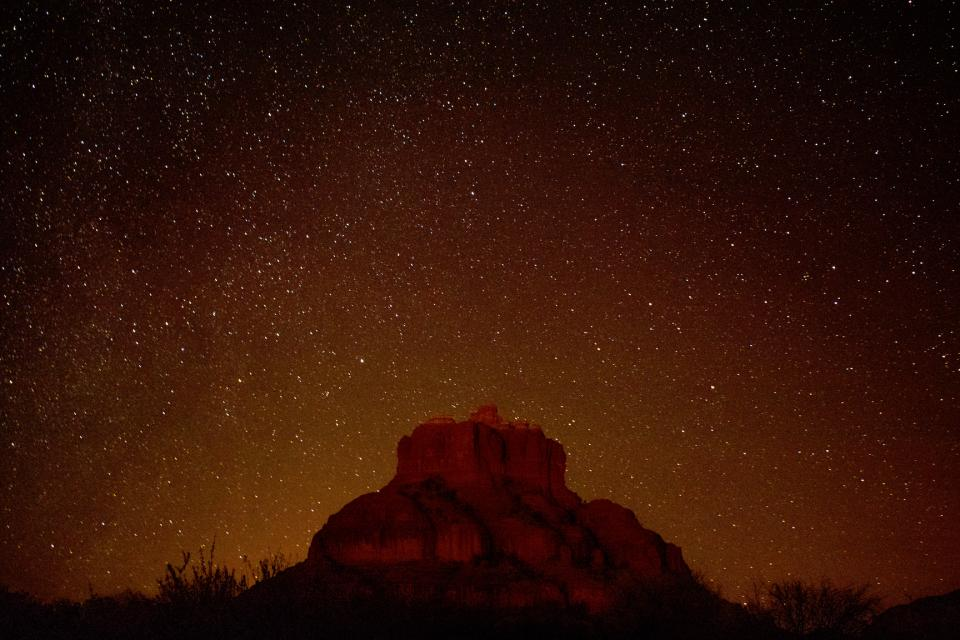 nature mountain cliff sky stars night