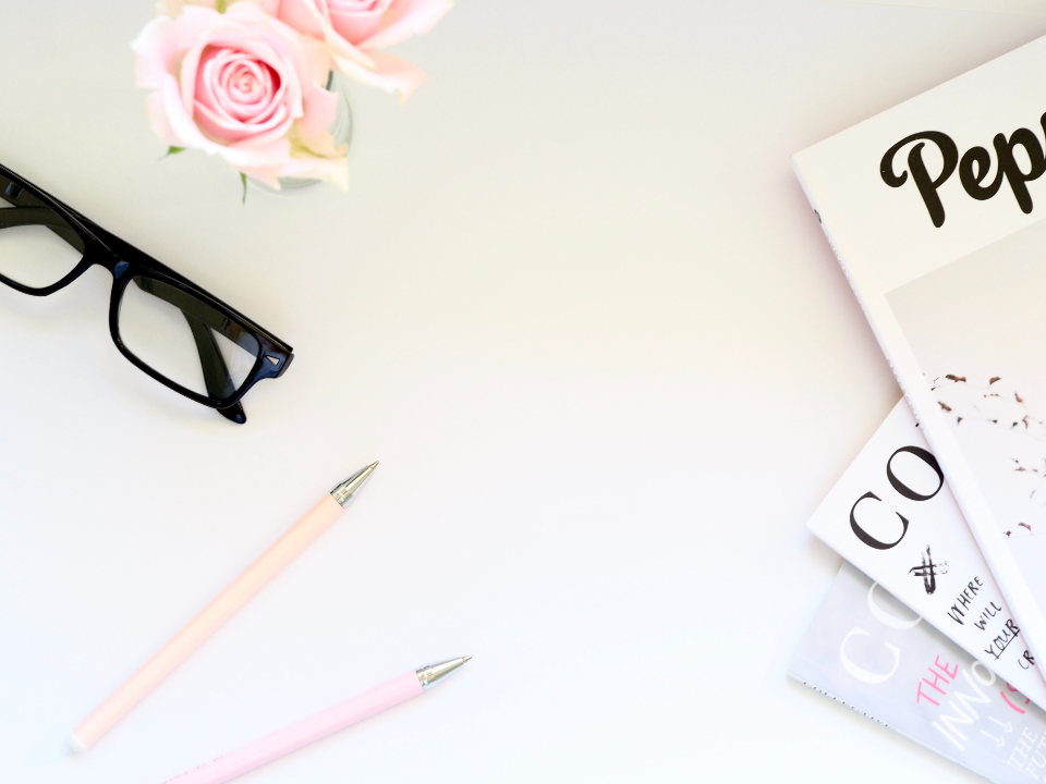 magazine glasses roses pink roses pens pink white background wallpaper minimal flowers fauna writing writer