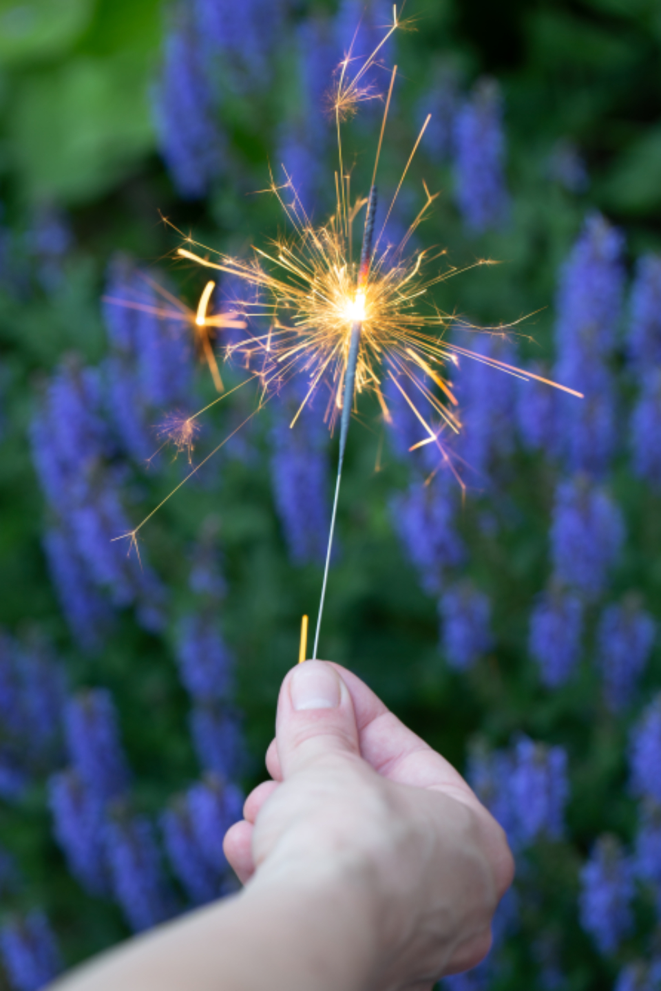 sparklers fireworks holiday celebration flowers bokeh outdoors summer fun hand holding sparks festive glittering mobile wallpaper glowing evening entertainment