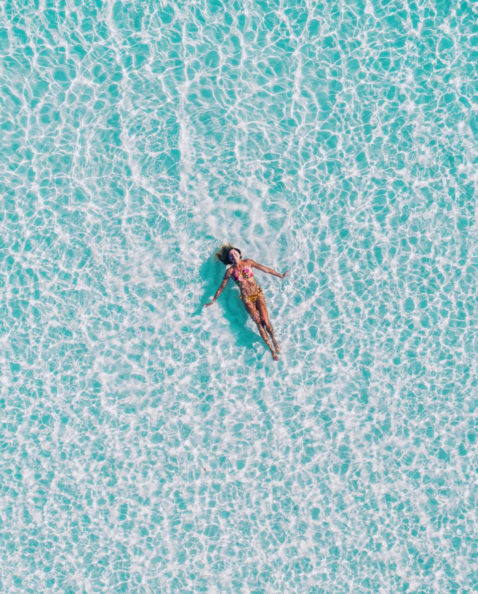 sea ocean water blue nature people woman girl relax swimming floating