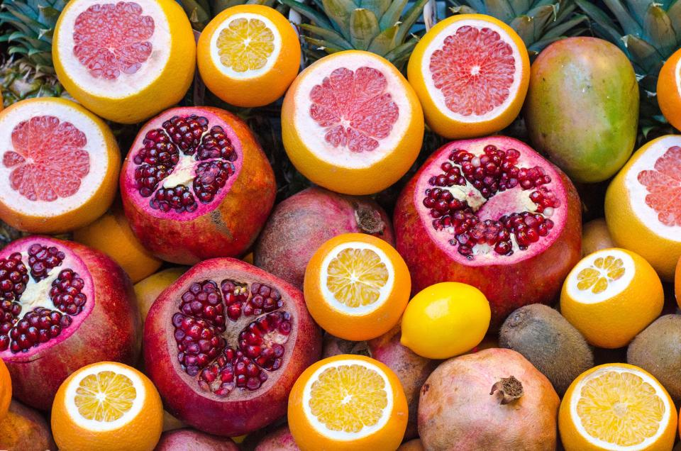 fruits orange citrus juice vitamins health food pomegranate grapefruit