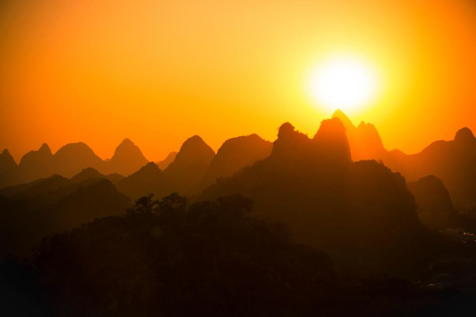 nature mountain sunset silhouette shadow climb travel adventure trek