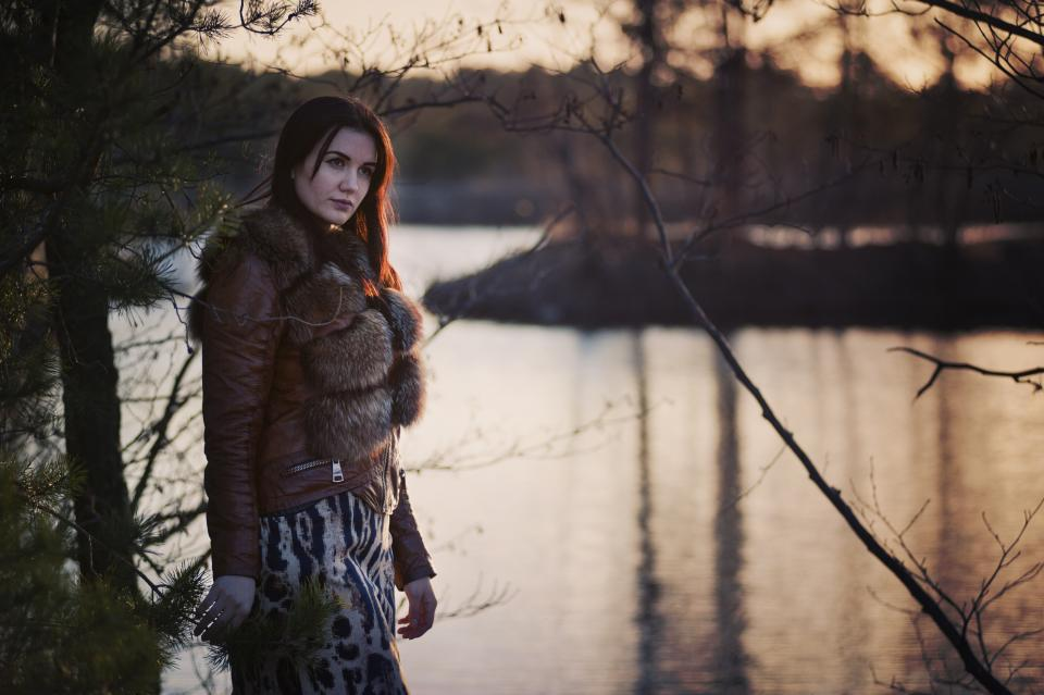 nature people woman fashion fur cold weather trees water river lake