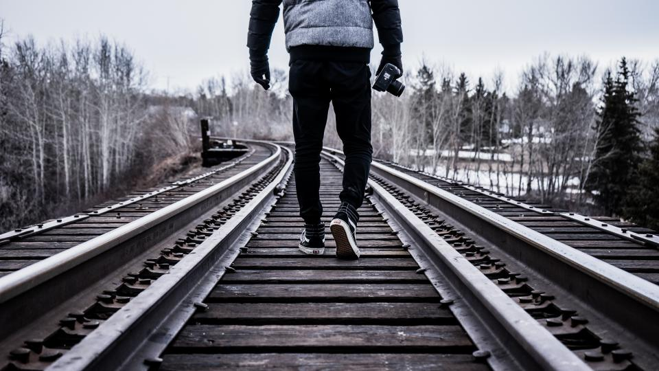 train tracks people photographer photography camera outdoors lifestyle