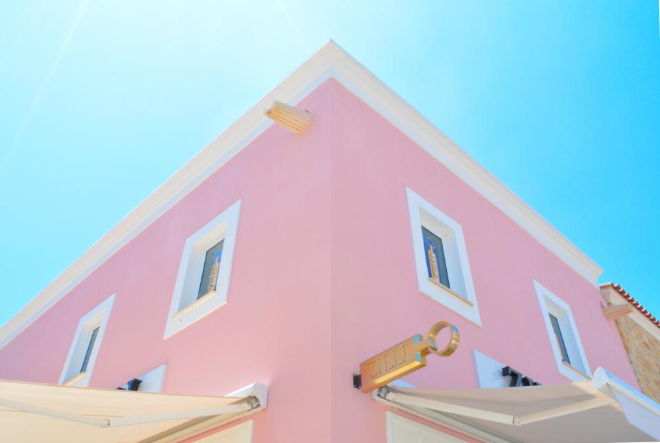 architecture houses homes residential suburbs windows pink pastel sky blue
