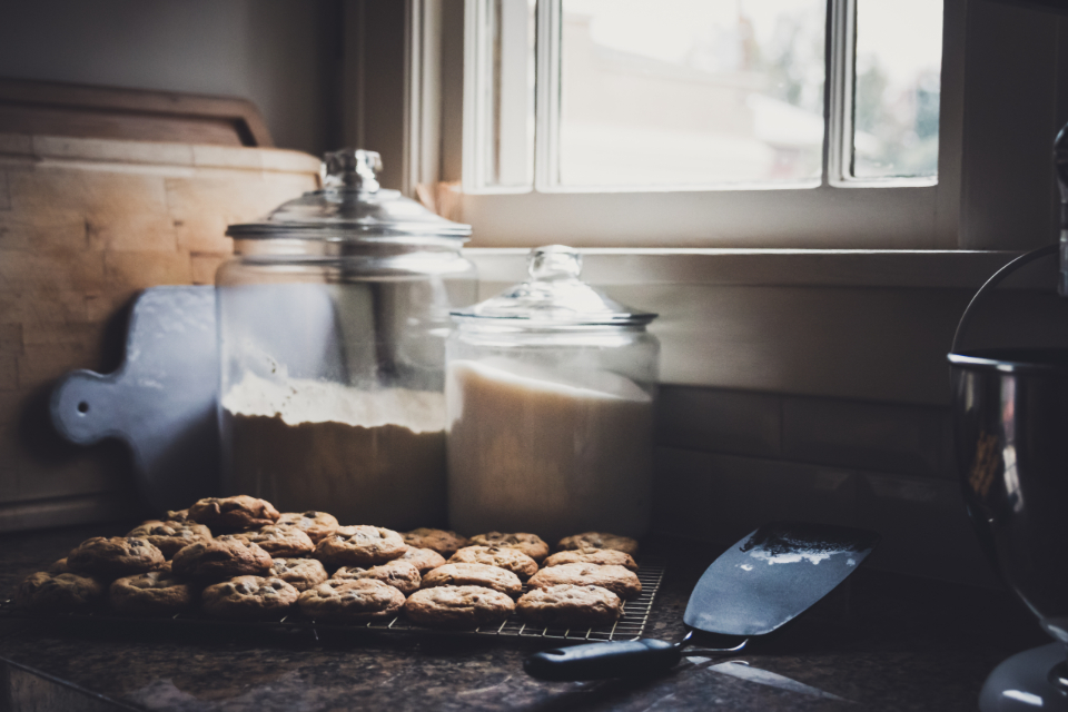 fresh baked cookies flour window chocolate chip homemade cookie dessert sweets pastry kitchen jars counter