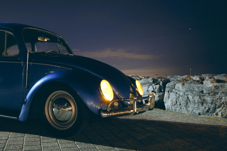 car vehicle transportation old vintage volkswaggen travel adventure blue shiny dark night