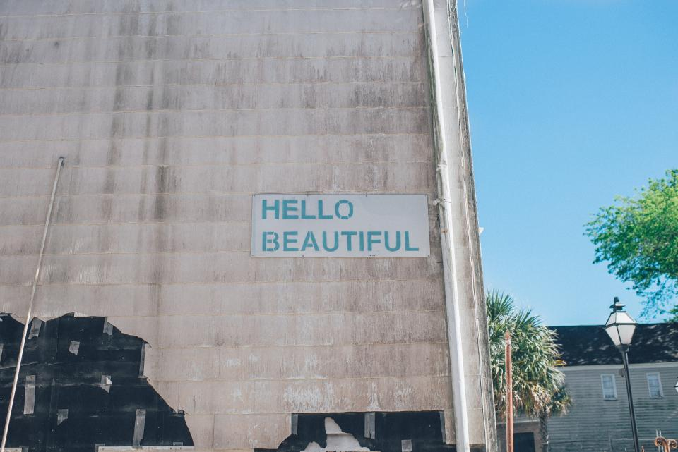 hello beautiful sign beauty wall building