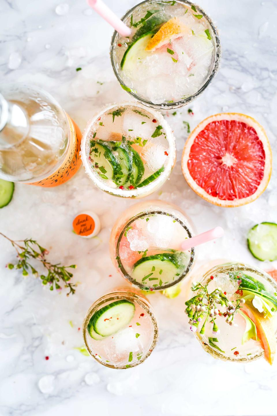 drinks beverage cold table restaurant coffee glass grapefruit fruit food green leaves cucumber ice