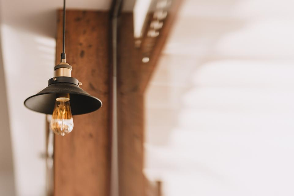 lamp light bulb electricity hang steel blur