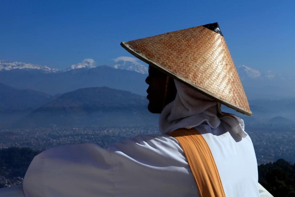 guy man male people side view contemplate culture style view backdrop nature mountains water ocean sea still