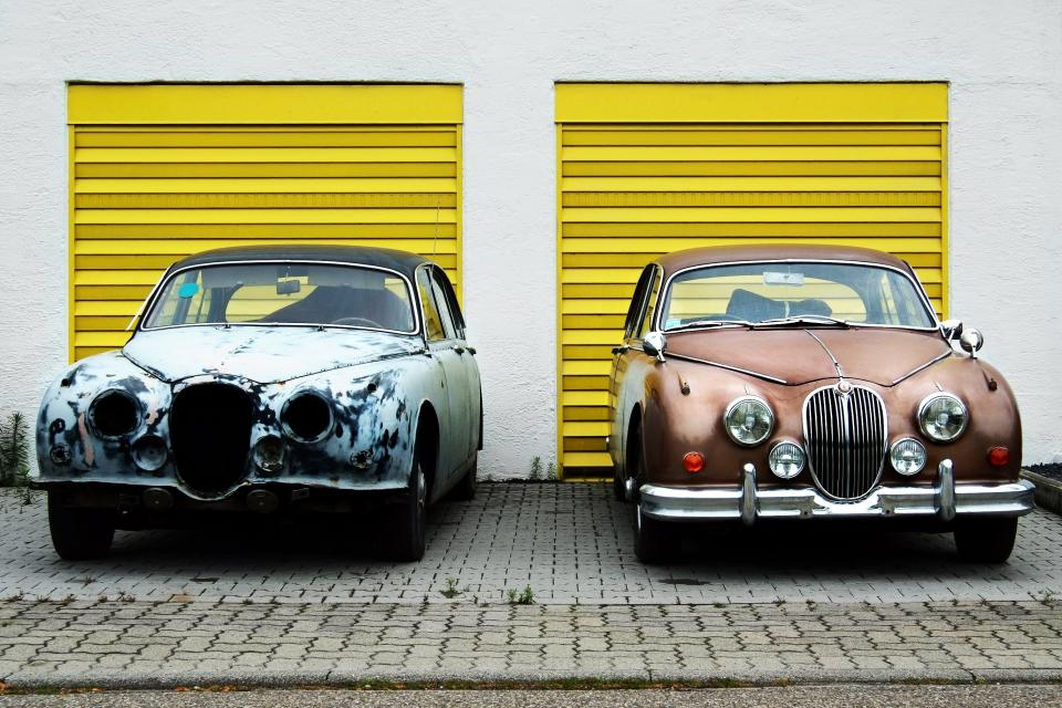 yellow garage white driveway cars vintage classic headlights