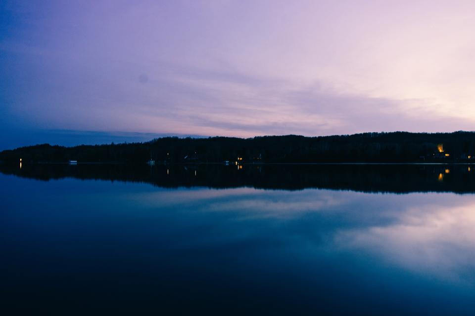 lake water reflection purple sky sunset dusk evening landscape