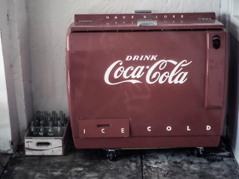 cooler oldschool vintage coca cola coke bottles ice cold