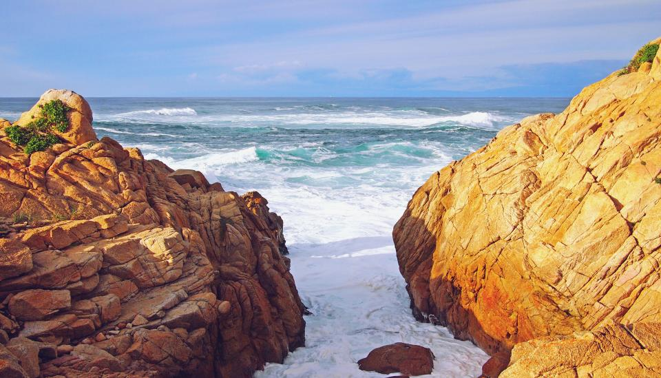 California ocean sea waves shore rocks sunshine summer beach