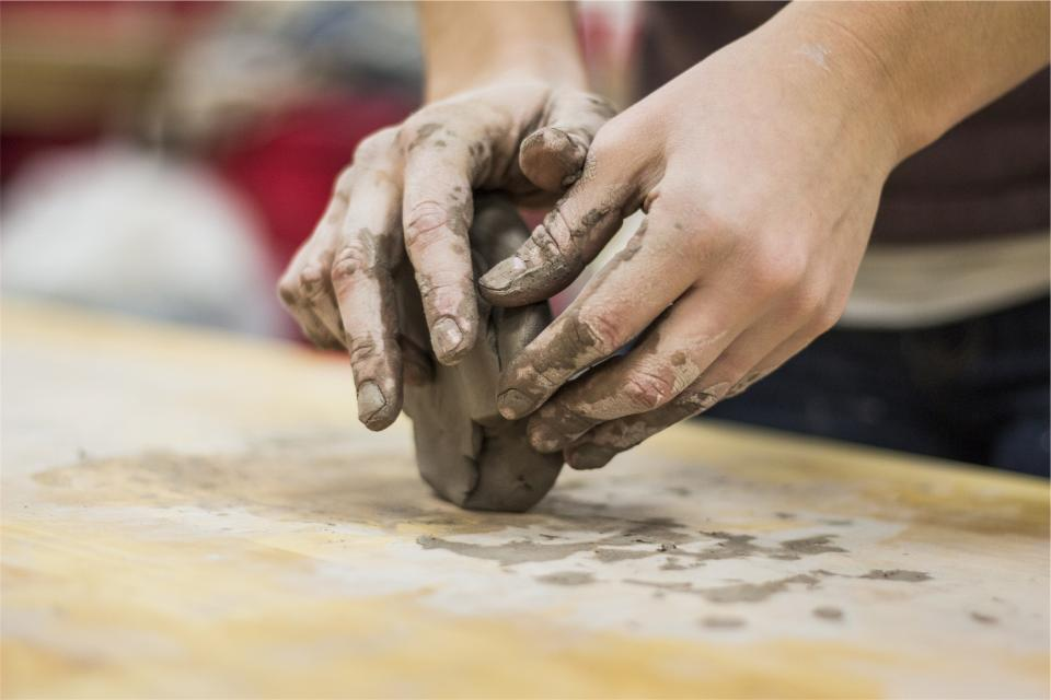 clay hands sculpting art