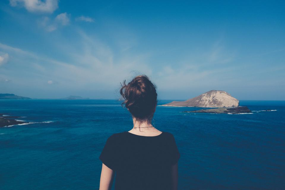 sea ocean blue water nature island outdoor view travel people girl alone cloud sky
