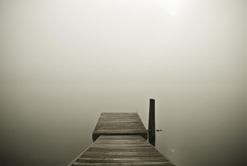 wood dock fog lake