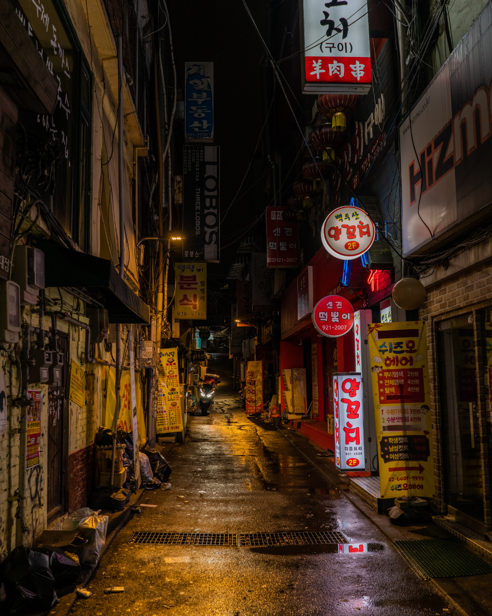 street neon cyberpunk korea asia seoul cyber alleyway dark scary downtown city urban buildings signs lights rain