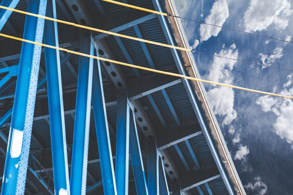 architecture building structure blue sky cloud steel roof wire