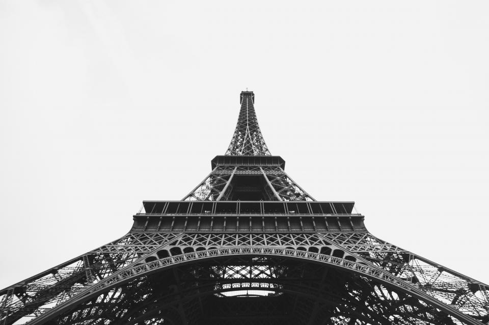 Eiffel tower architecture Paris France black and white