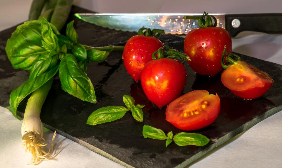 ingredients food cook tomato knife chopping board