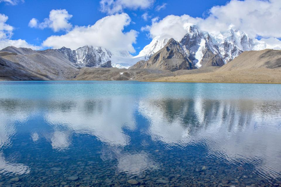 nature landscape mountains water reflection sky clouds