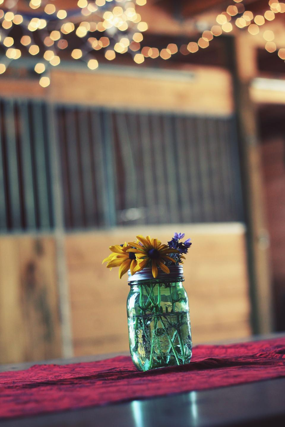 glass jar container water flowers display interior table bokeh