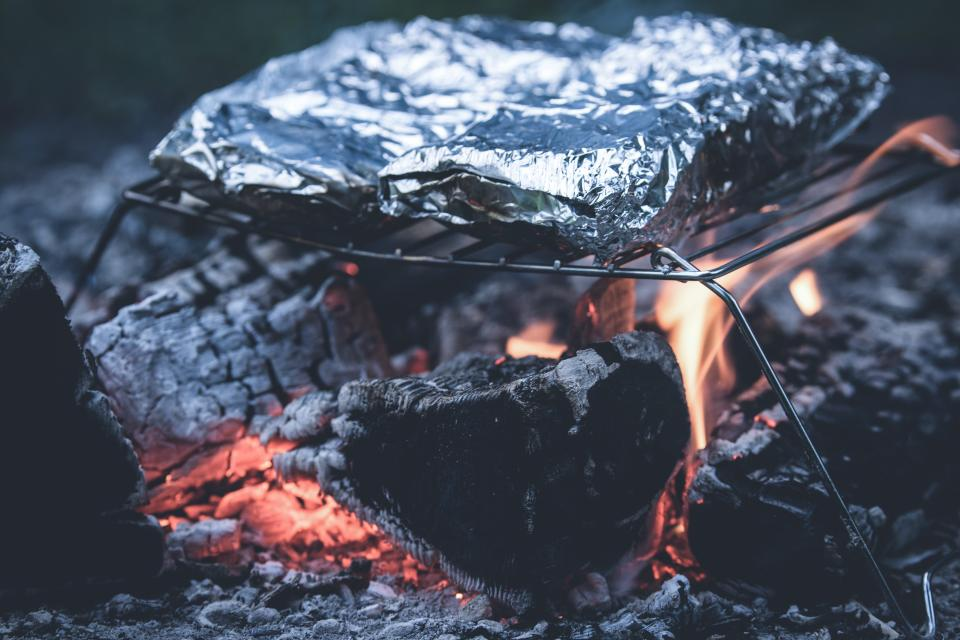 bonfire fire camping flame cooking foil food grill