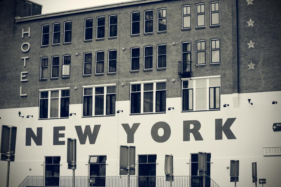 architecture building infrastructure hotel new york landmark black and white