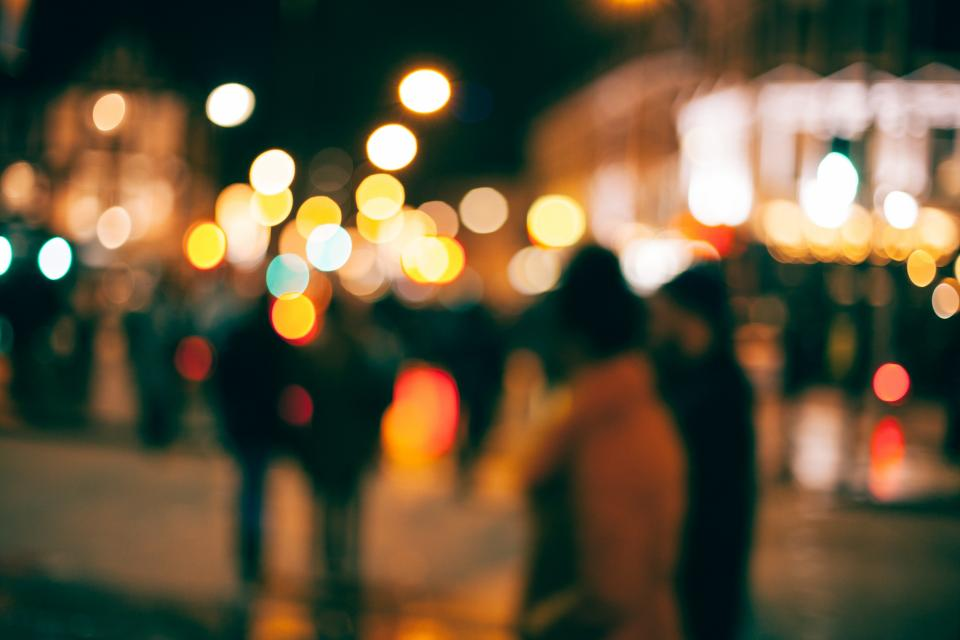 bokeh urban city street night dark lights people blur photography