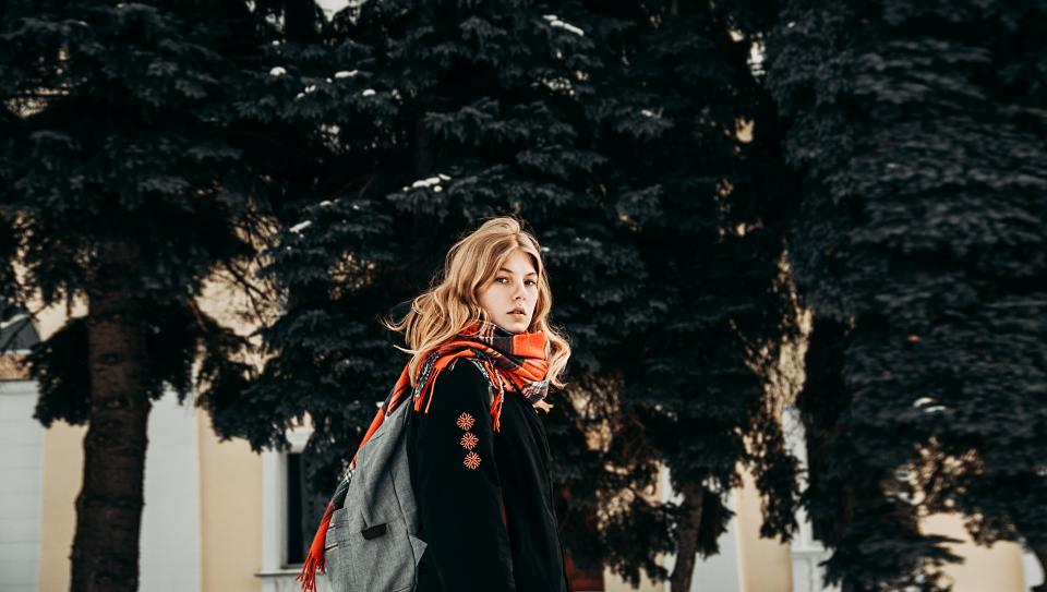people woman beauty fashion cold weather scarf blonde street trees house apartment