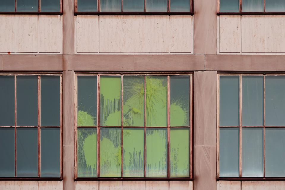 window panes wooden glass paint crack green wall building