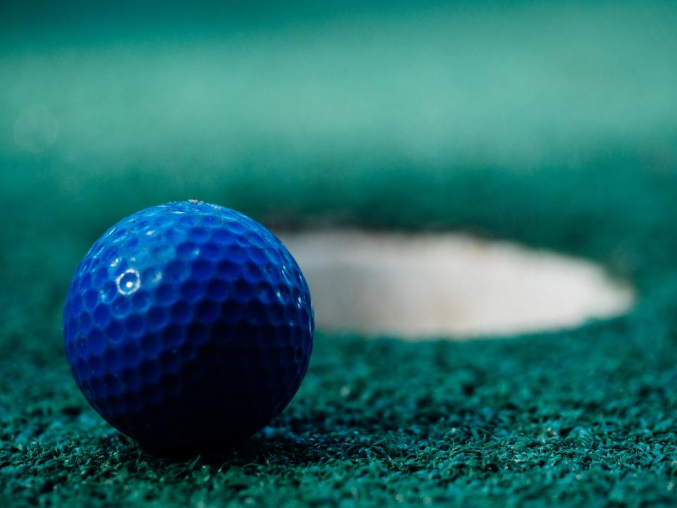 golf ball green sports fun blue hole