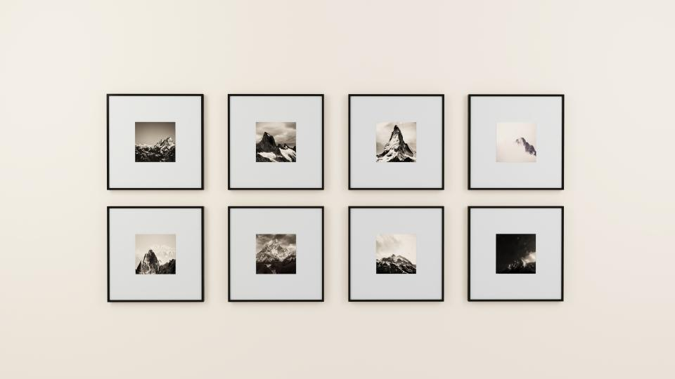 wall picture frame display interior design decoration black and white gallery image indoor illustration paintings