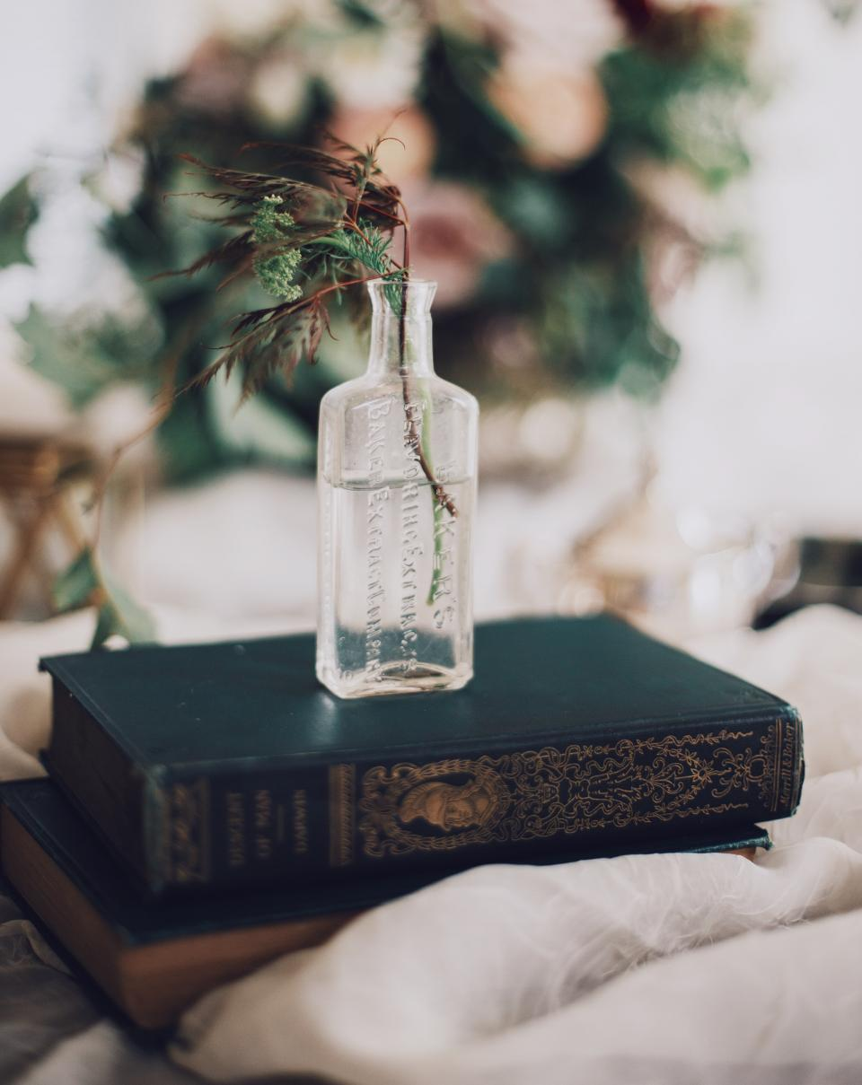 books cloth glass jar water plant blur bokeh