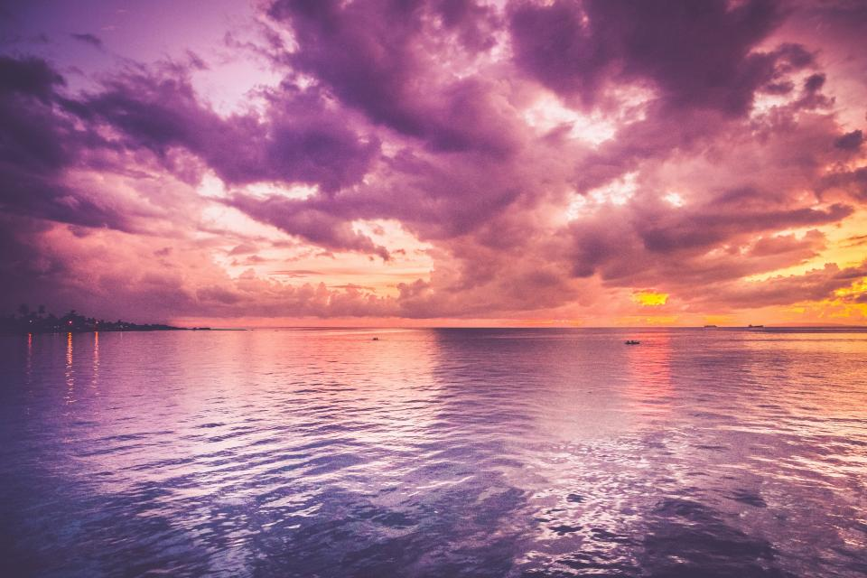 purple sky clouds sunset dusk ocean sea lake water horizon landscape nature