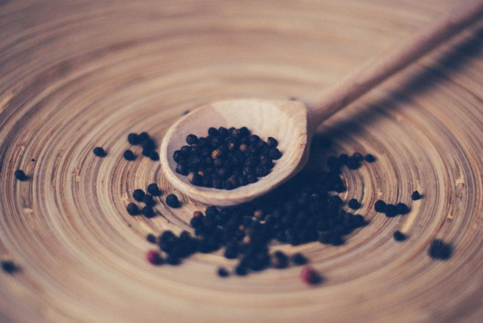 pepper spices food wood spoon