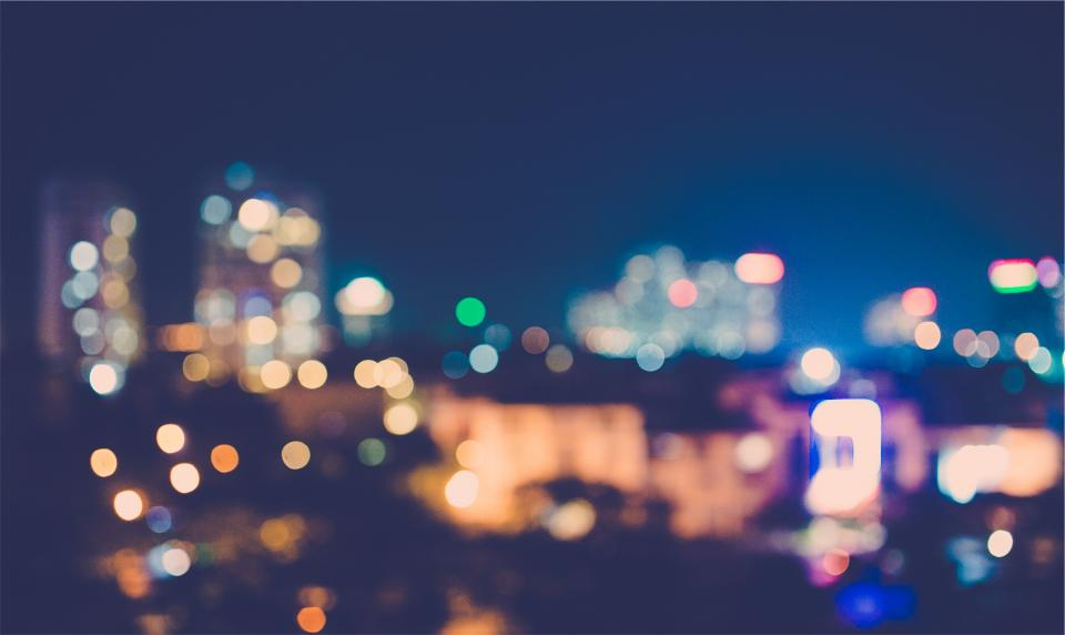 blurry lights night dark eventing city buildings bokeh