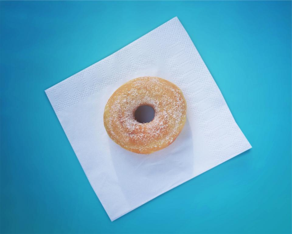 donut dessert sugar food napkin blue