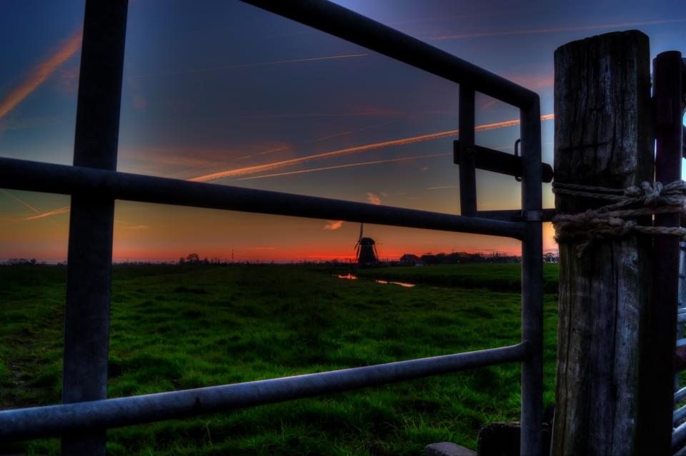 fence gate post fields rural country sky sunset
