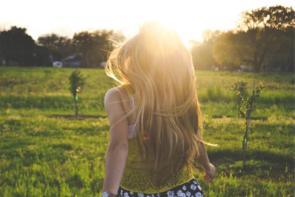 young girl woman blonde people long hair tank top fashion fields grass sunshine summer sunny beauty