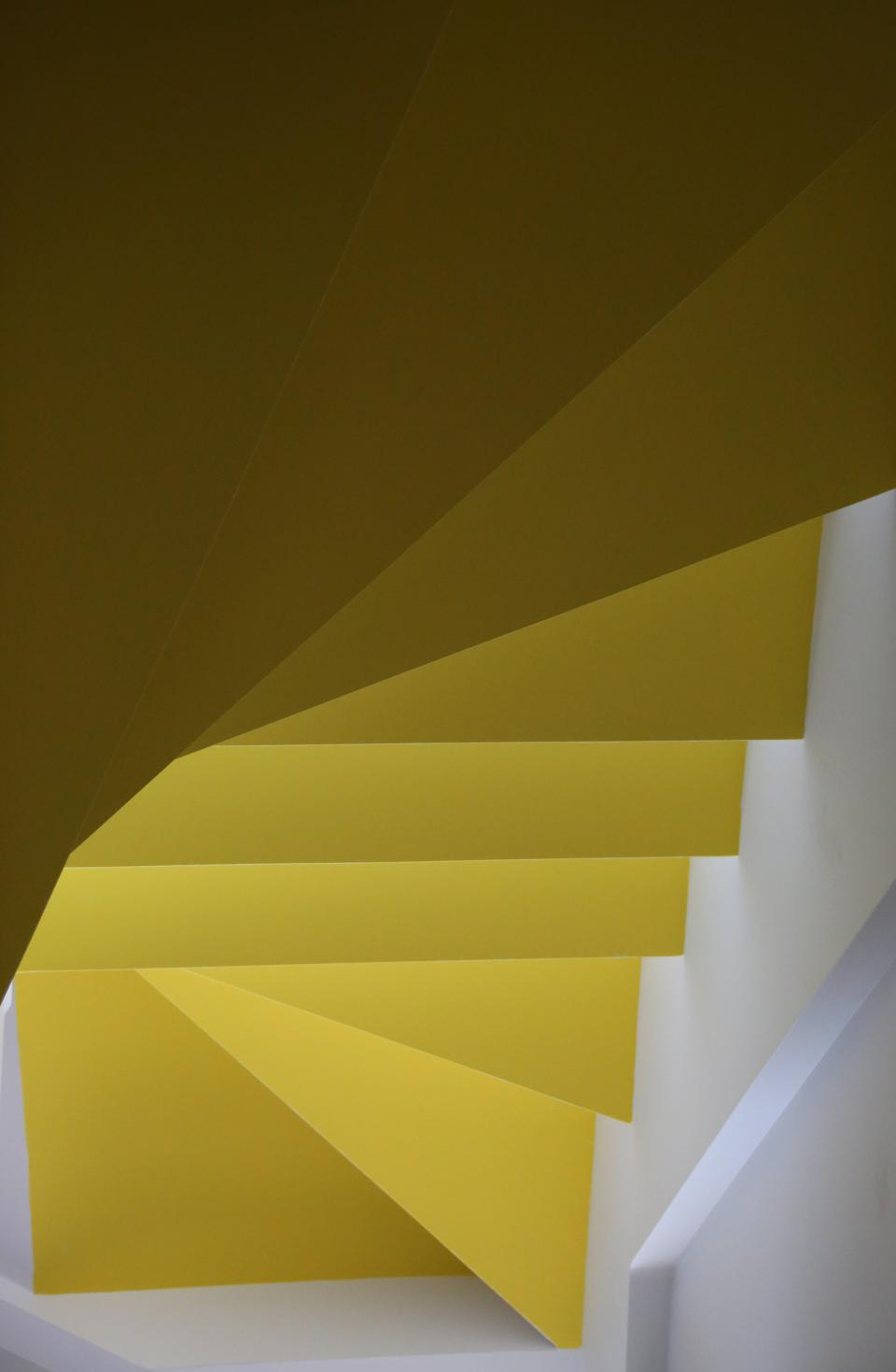 yellow stairs steps wall