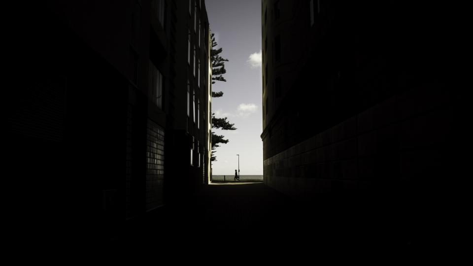 buildings city alleys windows light shadow trees space sky cloud lines minimalist