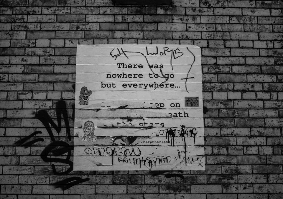 poster bricks wall Brooklyn New York city black and white