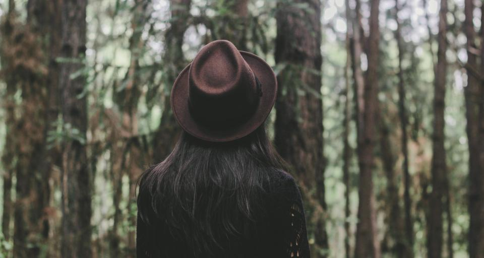 woman girl lady people back contemplate style fashion fedora nature forests trees