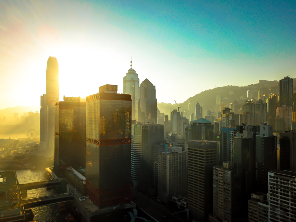HongKong sun city amazing drone travel architecture building home blue sky sunset dusk dawn business